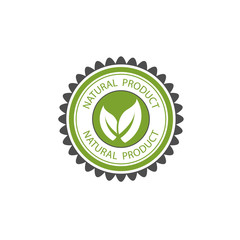 Vector design of green natural product logo ecology label.Beautiful green circle pattern.With two leaves put together.