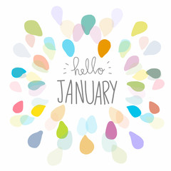 Hello January word and colorful frame vector illustration