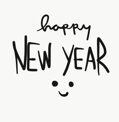 Happy new year word and smile face watercolor painting illustration