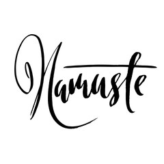 Namaste. Indian word. Modern brush lettering. Handwritten calligraphic design. Typography banner. Vector illustration.