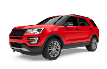 Red SUV Car Isolated