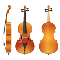 Violin or contrabass musical instrument with bow sketch icon. Vector illustration