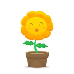Cartoon flower in a pot vector