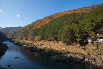 Top view of Hozu-gawa river from Torokko Hodukyo station in Arashiyama ,Kyoto ,Autumn season