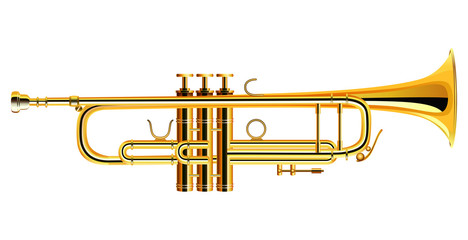 Brass trumpet icon. Philharmonic orchestra isolated. Vector illustration