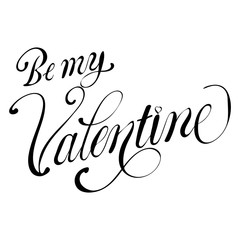 Be my Valentine text Vector illustration of Greeting Card with heart.