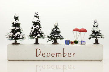 "Winter is a regular in December to use celebrate the festival. Used as a holiday concept. A white box with the text ""December"""