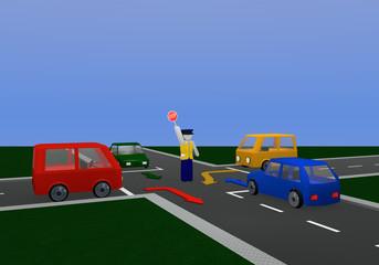 Verkehrsregelung durch einen Polizisten mit Richtungspfeilen: für orange Ampelphase mit Kreuzung und bunten Autos.