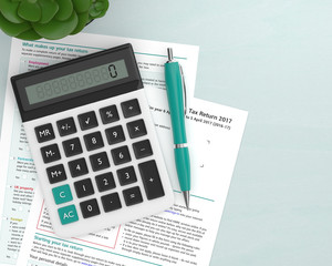 3d render of UK tax form with calculator