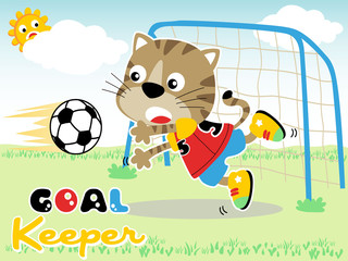 funny animals cartoon in soccer match
