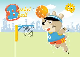 funny basketball player cartoon