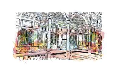 Watercolor splash with hand drawn sketch of Topkapi Palace, Istanbul, Turkey in vector.