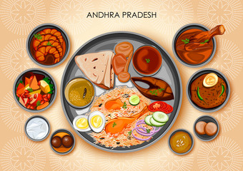 Traditional Andhrait cuisine and food meal thali of Andhra Pradesh India