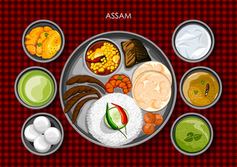Traditional Assamese cuisine and food meal thali of Assam India