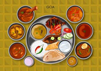 Traditional Goan cuisine and food meal thali of Goa India