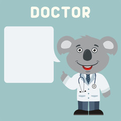 Doctor koala with bubble speech in cartoon style. Smiling doctor koala says important information about health.