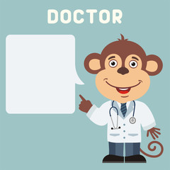 Doctor monkey with bubble speech in cartoon style. Smiling doctor monkey says important information about health.