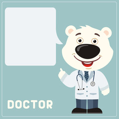 Doctor polar bear with bubble speech in cartoon style. Smiling doctor polar bear says important information about health.