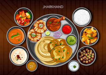 Traditional cuisine and food meal thali of Jharkhand India