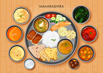 Traditional Maharashtrian cuisine and food meal thali of Maharashtra India