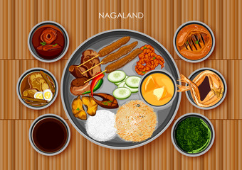 Traditional Naga cuisine and food meal thali of Nagaland India