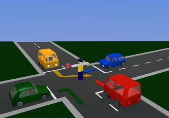 Verkehrsregelung durch einen Polizisten mit Richtungspfeilen: Stopp mit Kreuzung und bunten Autos.