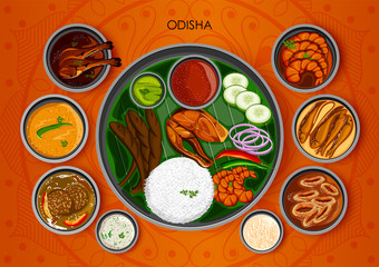 Traditional cuisine and food meal thali of Odisha India