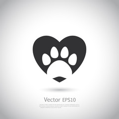Paw print inside heart icon.