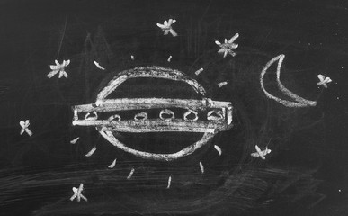 Poster UFO Flying saucer, UFO on chalkboard, blackboard background and texture