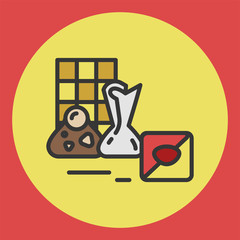Sweets candy category icon, vector line illustration for shop and symbol of cafe. Traditional Russian sweets and Candy.