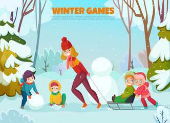 Kindergarten Winter Walk Illustration