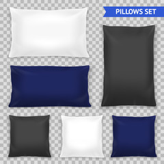 Realistic Pillows Top Transparent Set