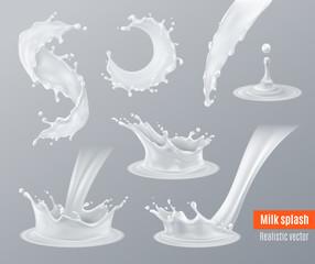 Realistic Milk Splashes Set