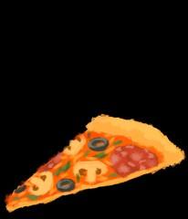 Slice pizza black background