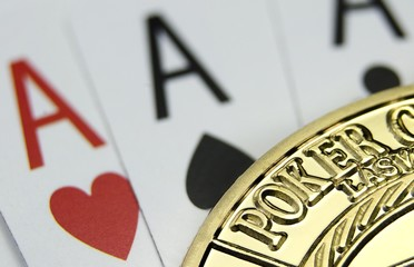 Poker card and golden chip