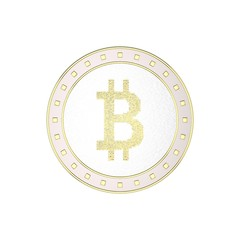 Cryptocurrency bitcoin. Isolated on white background. 3D rendering illustration.