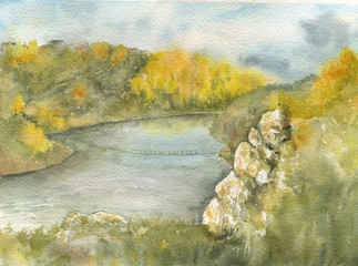 landscape with river and cliff