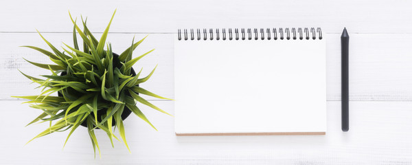 Minimal work space - Creative flat lay photo of workspace desk. White office desk wooden table background with open mock up notebooks and pens and plant. Top view with copy space, flat lay photography