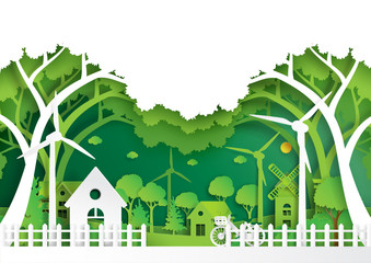 Green eco city and urban landscape of environment conservation concept.Nature green background paper art style.Vector illustration.