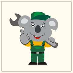 "Funny koala in wearing overalls with the large wrench on her shoulder. Mechanic koala bear in cartoon style shows ""like""."