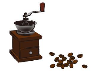 コーヒーミルと豆