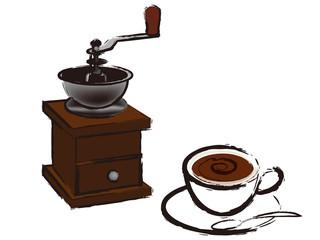 ホットコーヒーとミル