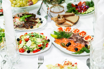 Snacks and delicacies at the Banquet table. Catering. Celebration or wedding. Buffet.