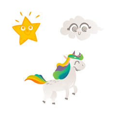 Vector cartoon funny stylized unicorn walking, smiling with rainbow colorful hair and horn, sun star, smiling cloud set. Fairy mysterious creature, isolated illustration on a white background