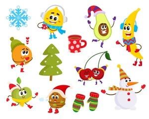 Vector cartoon winter fruit characters and symbols set. Funny orange, apple, lemon, banana, cherry in outdoor clothing, cup of hot beverage, snowman, mittens, snowflake and christmas decorated tree.