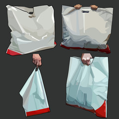 painted white bag bag in different versions