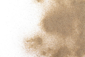 Pile desert sand isolated on white background, top view Fototapete