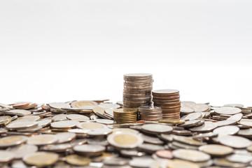background business concept  finance thai coin, copper thai coin