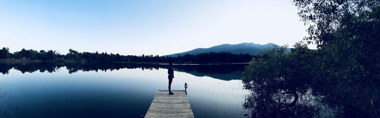 panoramic view of jetty by the lake
