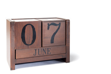 Wooden Perpetual Calendar set to June 7th